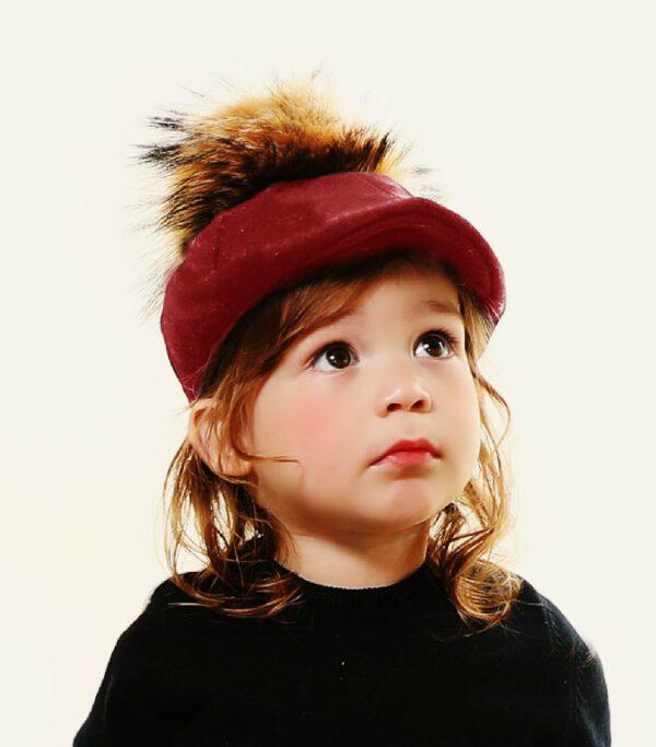 כובע קסקט בנים בורדו+פונפון BH20-1