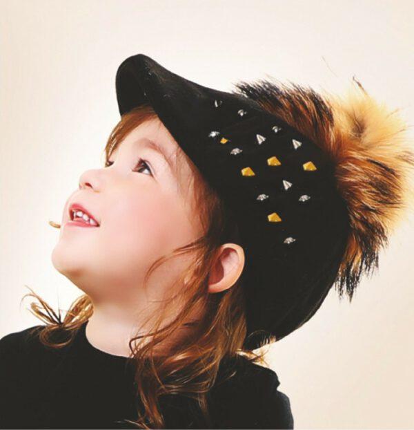 כובע קסקט בנים ניטים+פונפון